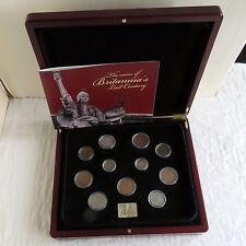 THE COINS OF BRITANNIA'S 20th CENTURY 11 COIN SET WITH SILVER INGOT-  boxed/coa