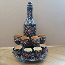 More details for 8 vintage russian hand painted wooden drinking cups tray, bottle decorative only