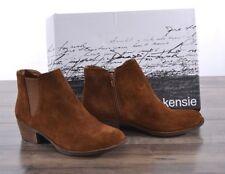 NEW Kensie Women's Short Ankle Brown Suede Bootie Garry 8.5 MED Boots Zip-up NIB