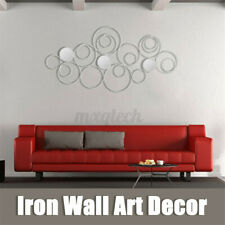 Wall Mirror Abstract Metal Hanging Ring Round Sculpture Home Art Decor