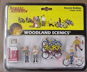 O scale BICYCLE BUDDIES Woodland Scenics Train People # 2752