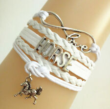 New Infinity Love HORSE With Money Horse Charms Leather Bracelet- White