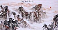 100% ORIGINAL ASIA FINE ART CHINESE SANSUI WATERCOLOR PAINTING-Mountains&Sunrise