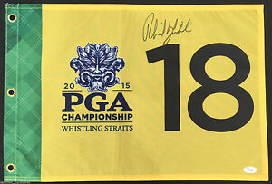 PHIL MICKELSON SIGNED 2015 PGA CHAMPIONSHIP FLAG 2021 AUGUSTA MASTERS JSA K63