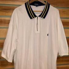 Mens VTG 90s White Polo Ralph Lauren ½ Zip Pony Logo S/S Shirt Golf 3XL Big 3XB