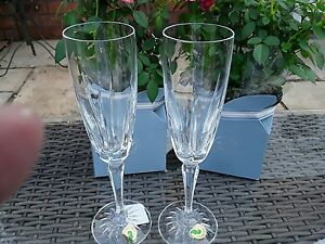 2 WATERFORD OLIVER CHAMPAGNE GLASSES FLUTES NEW BOXED