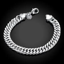 925 Sterling Silver Charm Snake Chain Bangle Womens Fashion Bracelet DLH102