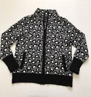 Rachel Zoe Sz M Full Zip Leopard Print Cardigan Sweater Gray Black