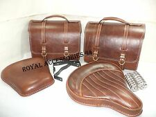 LEATHER ROYAL ENFIELD SADDLE BAG SET & STANDARD ELECTRA FRONT REAR SEAT ANTIQUE
