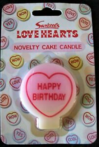 Swizzels Love Hearts Novelty Cake Candle Happy Birthday