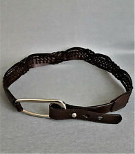 Coldwater Creek Brown Leather Braided Belt Women Size S