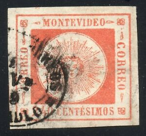 Uruguay Classic 1859 240c thin numerals #12 VF-XF apealing used stamp
