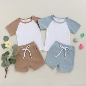 Kids Baby Boys Girls Outfits 2PCS Tops Shorts Summer Infant Casual Clothes Set