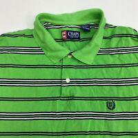 Chaps Polo Shirt Mens 2XL XXL Green Navy White Short Sleeve Cotton Striped Hi Lo