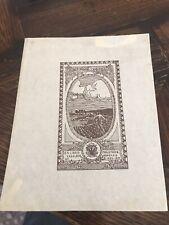 Antique 1909 artist EDGARDO RODINA Ex Libras BOOKPLATE litho print