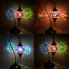 Real Stained Glass Handmade Multicolour Turkish Moroccan Mosaic Table Desk Lamps