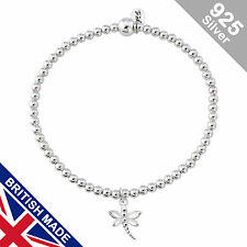 Trink Dragonfly Sterling Silver Beaded Charm Bracelet Elastic Stretch