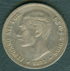 1877 Spain ALFONSO XII 5 pesetas Crown Size Silver Coin #A2