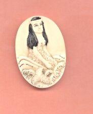 Sitting Mermaid in Waves Pendant Hand Carved 511 B