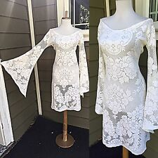 VTG 70s BoHo Sheer CUT OUT Hippie Of White Crochet LACE Angel Wedding MaXi DRESS