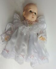 Vintage Gerber Baby Doll Moving Eyes Christening Gown 1979 blue lace satin 18""