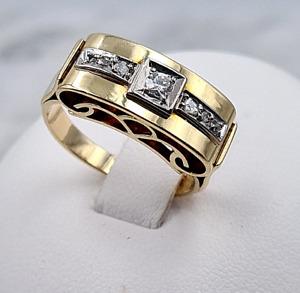 """""""Jugendstil"""" -Diamant-Ring - 585er Gelb-Gold - 7 Diamanten , zusammen 0.10 ct."""
