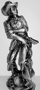 SOLID PEWTER, COWBOY IN ACTION FIGURINE/STATUE Weighing 600 grams 14cm  High