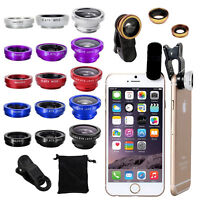 For i Phone 7 8 6s 6 Plus Samsung Clip Fish Eye Wide Angle Macro Camera Lens