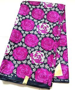 African PolyCotton Fabric ANKARA Block Wax Print Sewing Crafts Quilting Per Yard