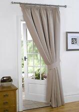 Thermal Blackout Door Curtains Beige 66'' x 84'' Pencil Pleat Tape Top