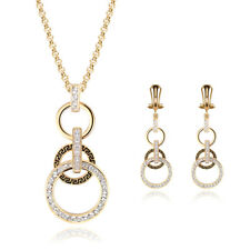 Fashion Women's Crystal Gold Plated Wedding Party Necklace Earrings Jewelry Sets