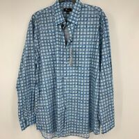 JR Jon Randall mens shirt large button down long sleeve plaid blue casual NEW