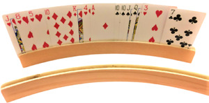 Wood Curved 2 Pcs Playing Card Holders Rack Hands Free Trays Organizer Free Shi