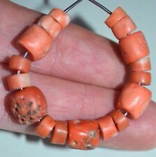 Antique Natural Red & Pinkish Coral Beads Collected From Nigeria, African Trade