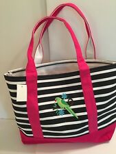 Parrot BIRD Pink CANVAS Black white STRIPE beach cotton tote bag EMBROIDERED NEW