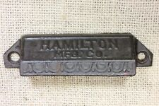 old drawer Bin pull handle HAMILTON printer type vintage rustic black cast iron