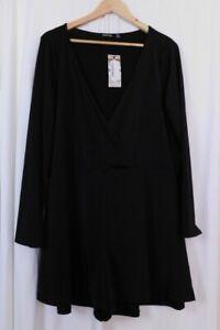 Boohoo size 20 black wrap over long sleeve playsuit