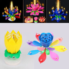 Birthday Candle Lotus Flower Magic Cake Decoration Blossom Musical Rotating Gift