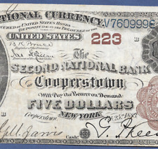 NY  1882 $5 BROWN-BACK ♚♚COOPERSTOWN, NEW YORK♚♚  RARE NOTE!!!
