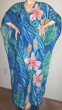 SANTE FLORAL CAFTAN Maxi-Length One-Size Blue & Multi-Color Polyester Satin