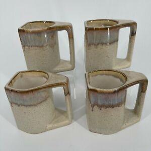 Set of 4 - Southwest Kokopelli Clay Pottery Handmade Coffee Cups Mugs Signed