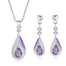 Womens Amethyst Gemstone Watedrop Pendant Necklace Chain Earrings Jewelry Set
