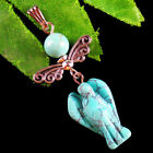 Carved Blue Turquoise Angel Tibetan Silver Wing Pendant Bead