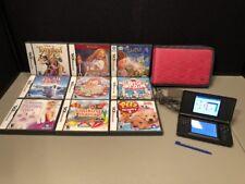 Nintendo DS Lite Cobalt Blue Black Handheld System Cord 9 Games Case