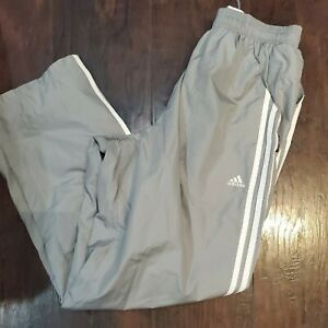 Adidas Climaproof Wind Track Pants Gray Stripe Ankle Zippers EUC Sports Running