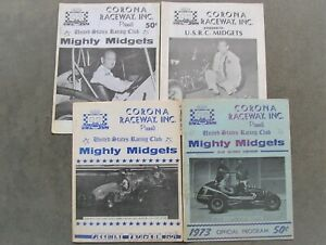 LOT OF CORONA RACEWAY PROGRAMS FROM THE 1970'S & 1980 USRC MIDGET AUTO RACING