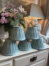 LAURA ASHLEY Duck Egg Blue Pleated Fenn Clip On Lamp Shades x5 Shabby Chic