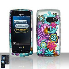 Purple Blue Flower Hard Case Cover LG Rumor Touch LN510
