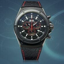 New Brandt & Hoffman 14040-Blk Mens Chronograph Deacon Luxury Sports Watch Red