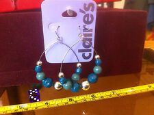 Claire's Claires Accessories Official Earrings Blue Dangle Beads £4 RRP